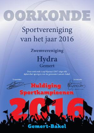 Oorkonde sportvereniging van het jaar 2016 - Huldiging Sportkampioenen Gemert-Bakel
